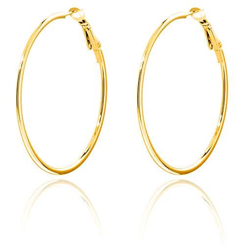 14k Gold Plated Big Hoop Earrings Large Thin Hypoallergenic Titanium Stainless Steel Hoop Earrings for Women Girls 70mm