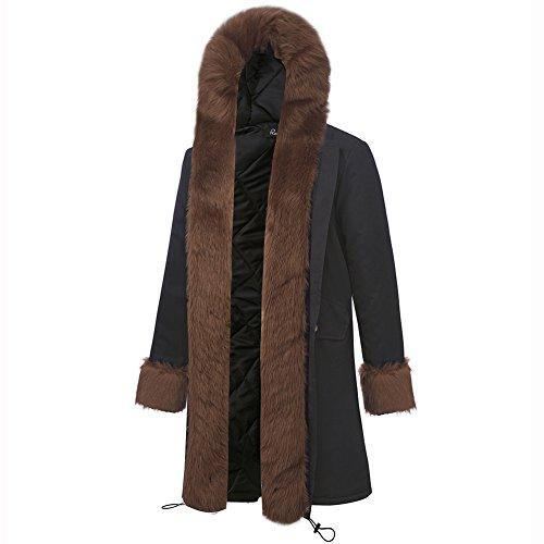 RUIYIGE - Abrigo - para mujer Coffee Fur/Black