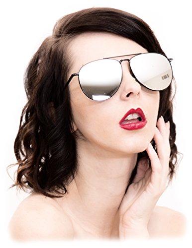 O2 Eyewear 97025 Premium Oversized Flat Aviator Mirrored Sunglass Womens Mens (METAL, - Mirror Oversized Silver