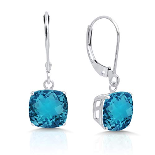 (14k White Gold London Blue Topaz Dangle Leverback Earrings (8mm) )