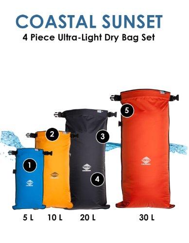 Aqua Quest Coastal Sunset 4-teiliges Packsack-Set - 100% Wasserdicht - 5, 10, 20 und 30 L - Blau, Gelb, Schwarz, Orange