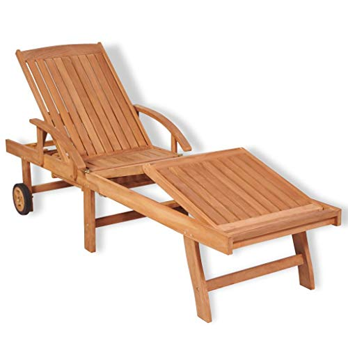 Unfade Memory Folding Outdoor Lounge Chaise Movable Sun Lounger Solid Teak Wood for Patio Garden Poolside Beach