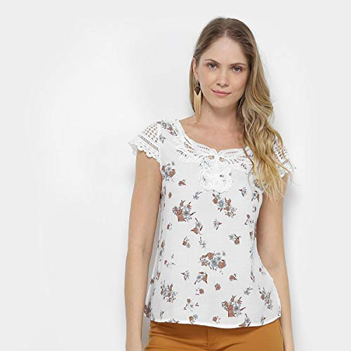 Blusa Jin Floral Guipir Feminina - Branco - G