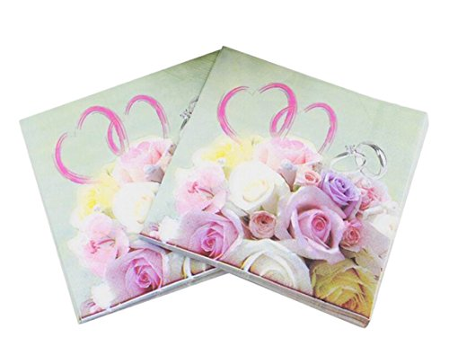 40 Count Paper Napkins, Designed Love Flowers Prints Cocktail Napkins, Serviettes Napkins for Weeding, Dinner and Party, Paper Luncheon Napkins 2-Ply, 13x13 Inch, (Love, 11)