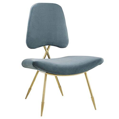 Modway EEI-2809-SEA Ponder Contemporary Modern Velvet Upholstered Lounge Chair in Sea, 0, Sea Velvet - Sea Velvet