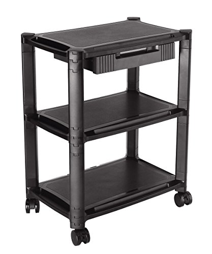 ProHT 3-Shelf Desk-Side Mobile Printer Stand (05470A) with Organizing Storage Drawer, Height Adjustable Rolling Computer Machine Cart, Max Load of each Layer:22 Lbs,19.69x12.99x25inch, Black - 3 Shelf Office Printer Stand