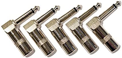 Amazon.com: 5 Pack of 1/4 Inch 6.3mm Right Angle 90 Degree Mono Male Jack  Plug Solder-On Connectors: Musical InstrumentsAmazon.com