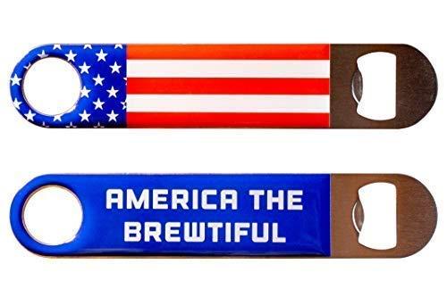 USA Beer Bottle Opener Stainless Steel Flat Bar Key - Bartender Approved Beer Accessories ()