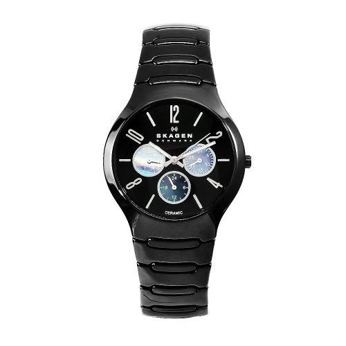 (Skagen Men's 817SXBC1 Ceramic Black Day and Date 24-Hour Watch)