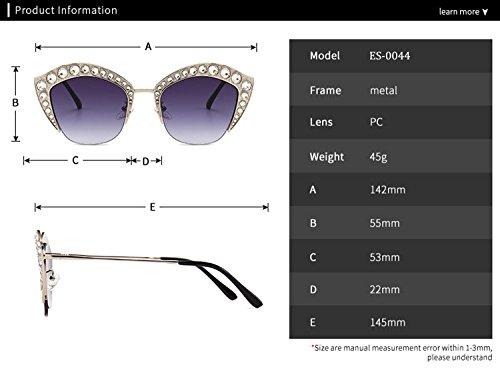 Lip PC para Gafas Gafas de armadura Moda HD Decoration Shape Diamond reflectante ATNKE sol de Té protección de hombres tamaño la de UV400 gran Mujeres con Lente dnwp78qxqA