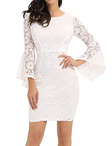 Noctflos 3/4 Bell Sleeve White Lace Cocktail Dresses for Women Courthouse Wedding Guest Holiday Party New Year's Eve Bridal Shower Spring