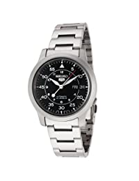 Seiko Men's 5 Automatic SNK809K1 Silver Stainless-Steel Automatic Watch with Black Dial