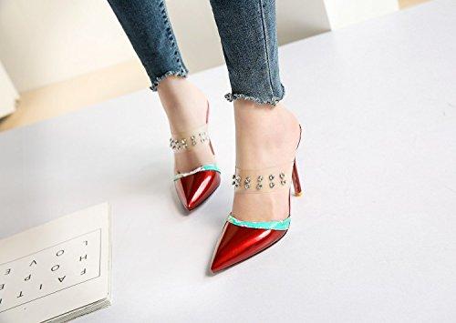 JUWOJIA Señaló Verano Transparente Remaches De Amarre La Mujer Diamante High-Heeled Sandals Sandalias De Mujer En 4 Colores,Rojo,8