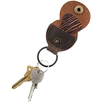 EastRock Portable Soft Leather Guitar Pick Holder-Guitar Pickholder with Keychain for Guitar Ukulele Brown