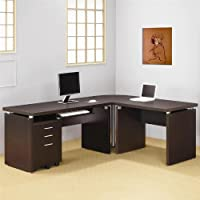 4 Piece L-Shape Writing Desk in Cappuccino Finish