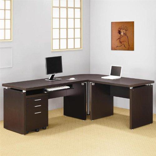 4 Piece L-Shape Writing Desk in Cappuccino Finish
