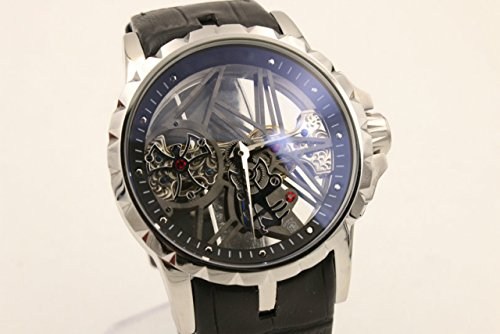 My_TimeZone Luxury brand top high best quality Mechanical Silver case leather strap watch (Replica Roger Dubuis)