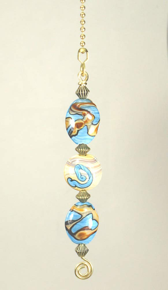 Southwest Swirl Sky Blue and Sand Landscape Glass Ceiling Fan Pull Chain by Trace Ellements (Image #1)