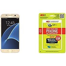 "Straight Talk Samsung Galaxy S7 ""Platinum Gold"" 32GB runs on Verizon's 4G XLTE Via Straight Talk's $45.00 5GB Unlimited talk & Text ""Service Card Not included"""