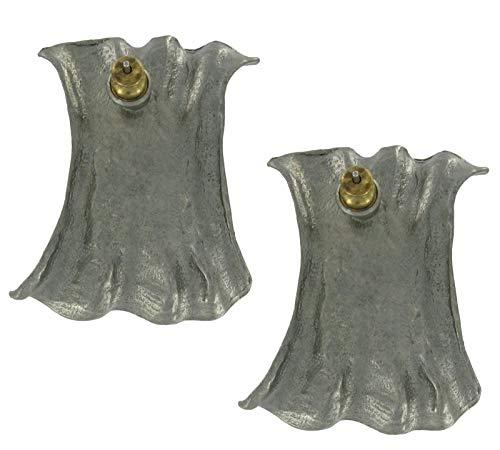 (Dark Silver Tone Metal Large Ruched Design Pierced Earrings For Women Set)