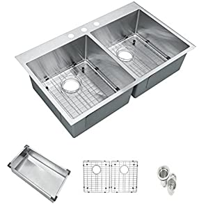 Starstar 33' Top-mount 50/50 Double Bowl Kitchen Sink Drop-in 304 Stainless Steel 16 Gauge with Accessories