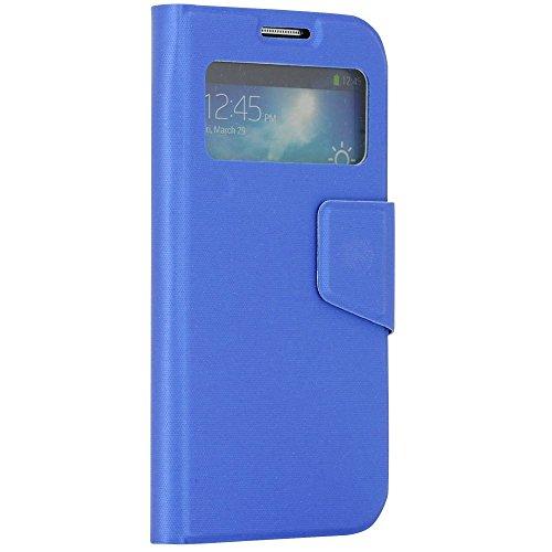 N57- Türkis Bookstyle Flip Cover mit Sichtfernster für Samsung Galaxy S4 i9500 i9505 LTE Schutzhülle Smart View Touch Hülle Smartphone Schale Handytasche Etui Case