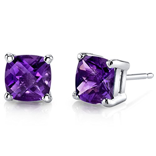 (14 Karat White Gold Cushion Cut 1.50 Carats Amethyst Stud Earrings)
