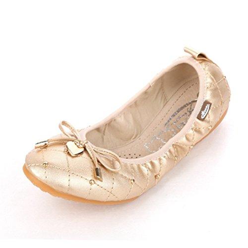 Toujours Jolies Femmes Bout Pointu Ballerines Décontractées Chaussures De Conduite Or