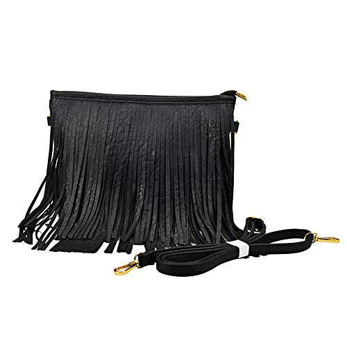 Sibalasi Chic Fringe Crossbody Bag Bohemian Tassel Lightweight Hippie Shoulder bag Double Layers Fringe Small Handbag - Fringed Black Handbag