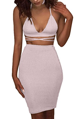 Sunfury Women's Party Clubwear 2 Piece Sexy Outfits Bodycon Midi Bandage Crop Dress Set Pink (Outfit Sexy)