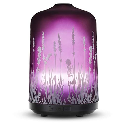 - Essential Oil Diffuser 250ml Lavender Aromatherapy Fragrance Glass Diffuser Ultrasonic Tech Cool Mist Humidifier with 7 Color LED Lights and Waterless Auto Shut-Off Home Office Yoga SPA