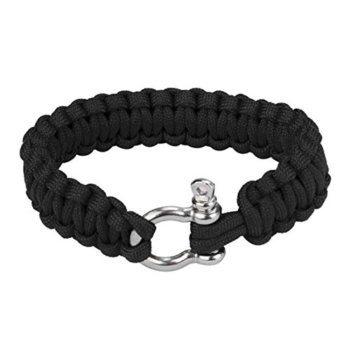 HANYI-Outdoor-Paracord-Survival-Bracelet-With-Zinc-Alloy-Bow-Shackle-Rope-Camping-Black