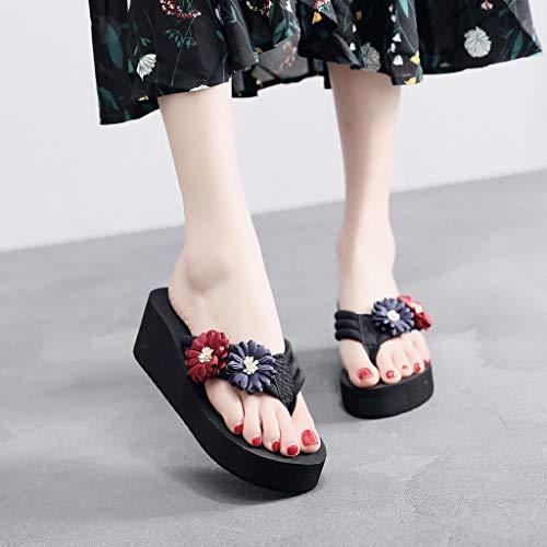 Sandales Chaussures Maison Dames D'été Fleur Tongs Blue Cales Femmes Pantoufles Mocassins Plage Femme Yesmile zZqdxwFpz