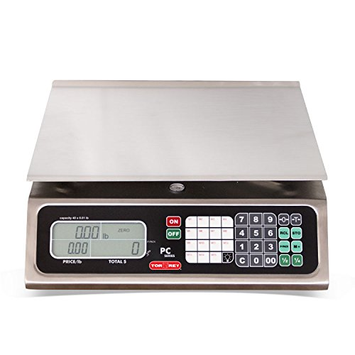 TORREY PC80L Electronic Price Computing Scale, Rechargeable Battery, Stainless Steel Construction, 100 Memories, 8 Direct Access Keys, 80 lb by TORREY