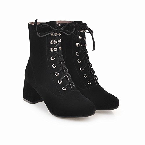 Latasa Womens Chunky Heel Lace up Short Boots Black wMpg1cIC