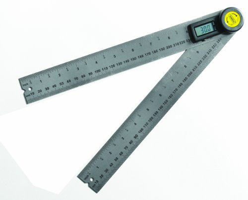 General Tools 823 Digital Angle Finder Rule, 10-Inch (254mm) Stainless Steel Protractor in 32nd and MM Increments, Large LCD Display, Measures 360 Degrees