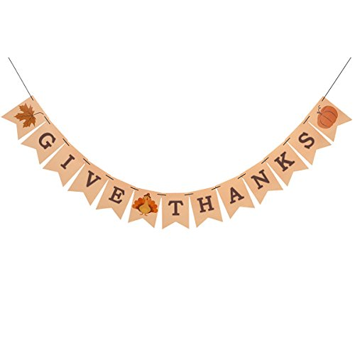 Konsait Give Thanks Hanging Banner Thanksgiving Party Pennant Bunting Garland Give Thanks Bunting Maple Leaf Banner Paper for Happy Thanksgiving Day Celebration Home Decoration Party Favors]()