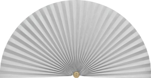 Neat Pleats Decorative Fan, Hearth Screen, or Overdoor Wall Hanging - L205 - Moire Floral: White