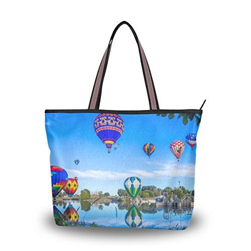 (Women's Handbag Microfiber Large Tote Shoulder Bag, Hot Air Balloon Pattern)