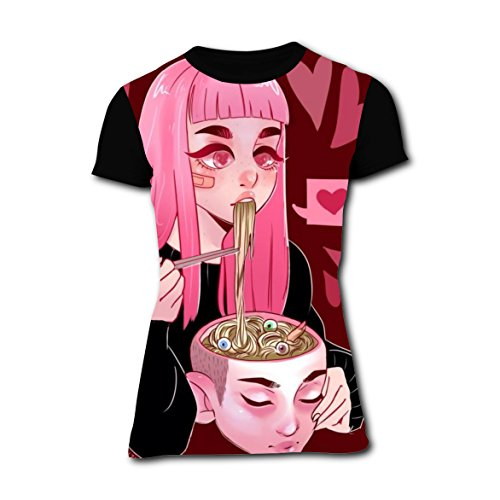 Bloody Girl with Head Bowl Womens Slim T Shirt 3D Printed Tee Top L