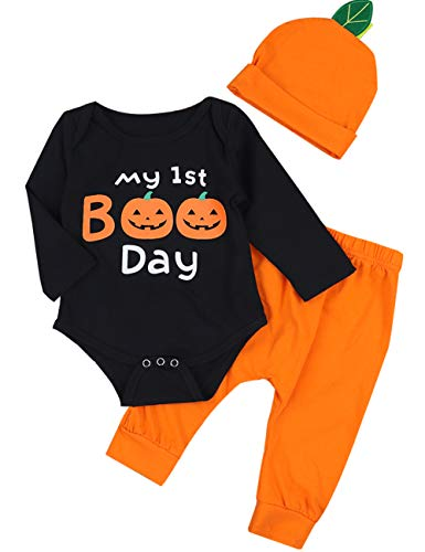 3Pcs My First Halloween Pumpkin Outfit Set Newborn Baby Boys Girls Romper Pant with Hat.(3-6M) -