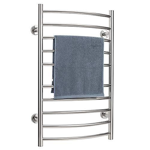 Towel Warmer Rack Dryer Rack, Wall Mountable-10 Curved Bar Stainless Steel Electric Bathroom Spa Hot Towel Warmer Rack