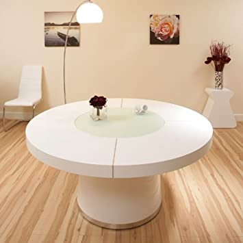 79b948c01f0f Avant Garde Large Round White Gloss Dining Table Glass lazy susan LED  lighting 1.6