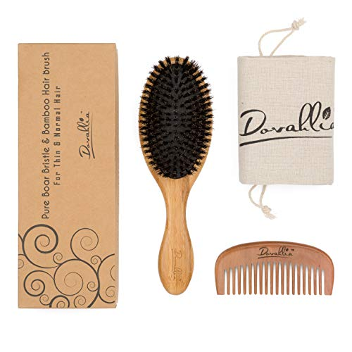 Boar Bristle Hair Brush Set For Women And Men - Designed For