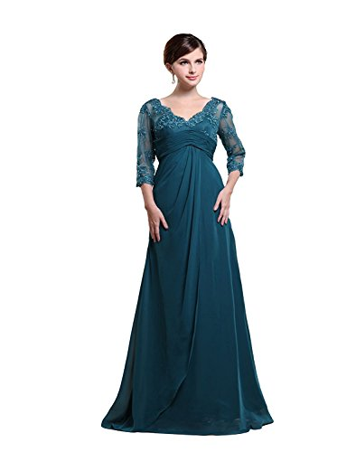 Angel Formal Dresses Women's V-Neck Chiffon and Lace Mother Of The Bride Dresses (20, Hunter)