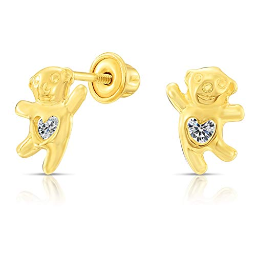 Tilo Jewelry 10k Yellow Gold Tiny Happy Panda with Heart-Shaped CZ Stud Earrings with Secure Screw-Backs -