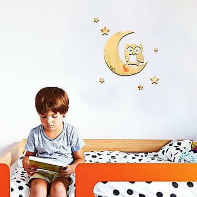 XGHC 3D Wall Stickers Wall Decals Style Owl On The Moon Wall Stickers , gold (Halloween Mouse Silhouette Pattern)