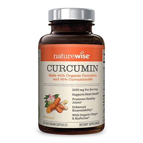 NatureWise Curcumin Turmeric 2250mg | 95% Curcuminoids & BioPerine Black Pepper Extract | Advanced Absorption for Cardiovascular Health Joint Support | Gluten Free Non-GMO [1 Month Supply - 90 Count]