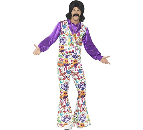 Smiffys Men's 60s Groovy Hippie Costume, Multi, -