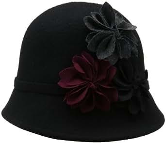 Scala Women's Wool Felt Cloche Hat with Rosettes, Black, One Size